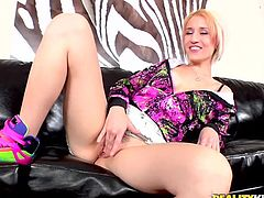 Click to watch this short haired blonde wearing trendy clothes, while she is grabbed by her legs and fucked hard everywhere. Proxy is a fucking slut!