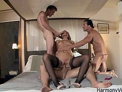 Take a look at this hardcore scene where the sexy blonde Samantha Jolie ends up with a mouthful of cum after being fucked by guys in a threesome.