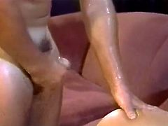 Small breasted blond haired salacious tramp receives energetic doggy style hammering of her not attractive at all hairy kitty. Watch this ugly pussy fuck in The Classic Porn sex clip!