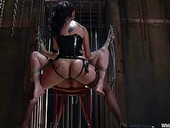 So, January Seraph and her sexy sex slave Winter Sky are having so much passion in this BDSM. Slave is tied up and her legs are wide open for strapon fuck!