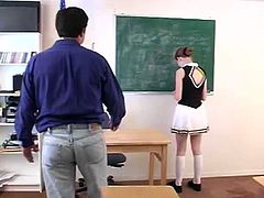 That filthy chick is bed student and she must be punished. Her dirty professor is spanking her smoking hot ass until it goes whole red.