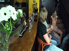 Watch this hot blonde Czech flower seller babe get her tight cunt fucked hard in the bar in front of other boys.See how they all witness this horny blonde getting her tight pussy fucked hard by a horny bar tender and in last all these boys jerks their big cocks and cums on her face.