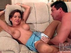 The action starts in the kitchen with that brown haired babe. He is fucking her, when blondie breaks in and joins their perversions.