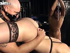 Get a load of this hardcore bondage scene where these sexy ladies are fucked hard by their slaves in a hot foursome.