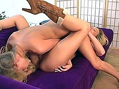 Two fabulous blonde lesbians are having some good time together. They lick and toy each other's coochies in 69 position and seem to be unable to stop.