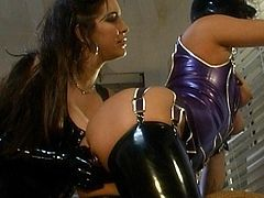 Hot lesbos in dirty femdom show
