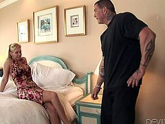What a charming milf she is! It seems like this dude is not her man and she is cheating on her husband with him! A thick cock will make her forget about the worries!