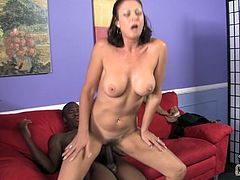 She is one horny cougar who loves black studs. She seduces her daughters boyfriend to get his big black cock. He fucked hard her wet cunt.