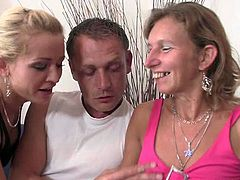 This blonde babe is a perverted daughter. She hits on her mom, trying to convince her to fuck her husband. She succeeds and watches her mom ride her husband's cock.