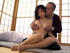A horny Japanese slut sucks on a hard dick and then gets it shoved balls deep into her fuckin' gash, check it out right here!