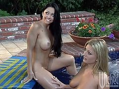 Outdoors, under the warm sun, these lesbian babes get naughty and give the lucky guy a double blowjob. Taking turns, they get fucked and jizzed.