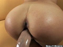 Horny Alida blows a cock excitedly and gets banged