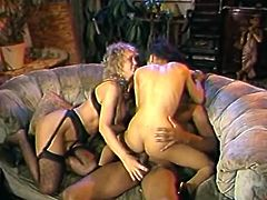This blondie knows how to share and now it's her friend's turn to ride this black cock. Shapely wench rides this stud's cock passionately until she cums. Check out this fantastic foursome sex video now to see what else these naked bimbos are up to.