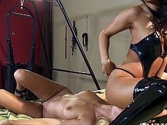 Tasty looking ebony gal licks and fingers pussy of her blond head big assed babe. Then that bitchy blond slut sits on swings leg spread and her hot helpmate energetically hammers her with strapons. Look at these hot tempered lesbos in Brazzers Network sex clip!