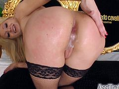 Lia takes on two guys, gets her ass and pussy double penetrated then she takes a creampie in her ass and pussy at the same time.