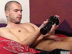 When he is alone, young homo loves to play with his weasel monster. Showing off his weasel monster aroused inside his white pantyhose makes him look so sexy.
