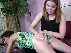 Take a look at this hot scene where these naughty little ladies have fun spanking one another on camera.