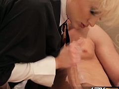Petite short haired blonde babe Nora Skyy shows off her amazing blowjob skills in private. This lucky dude can't hold it long, and she sucks all of the cum right out of him!