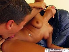 This smoking hot brunette is horny and wet and her man loves to fuck hard her tight shaved pussy and cum deep inside her.