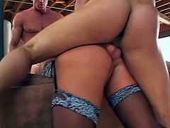 For Ava three guys is just the right amount. She got double penetrated by two of them while sucking the third as all her holes were filled.