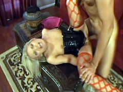 This hoe in stockings and corset get caught masturbating and gets drill hard by filthy dude. This tempting babe fucked that dude so hard and nasty.