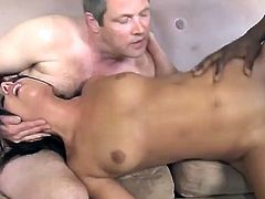 This stunning babe is starving for long rock black cock. She is blowing deeply his huge dong before he nailed her moist cunt.