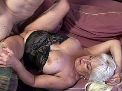 Old blonde fattie Dana Hayes is playing dirty games with Jay Huntington. They have oral sex and then fuck doggy style and in cowgirl position.