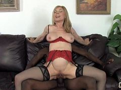 This steaming hot and wicked hungry blond milf is luring this dude in her office with only one thought in her mind! She wants his black cock more than anything!