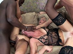 Insolent babes are enjoying two massive cocks during intense hardcore group action