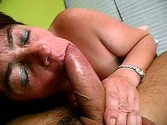 That horny granny loves stiff cock and she is ready for hardcore banging by that horny fucker, he just need to seat and enjoy while she rides his cock