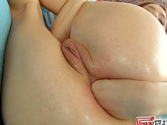 Amazingly hot blonde babe makes incredible solo show. This bombshell lifts a skirt up to show her perfect ass. Leyla fists and toys her tight ass.