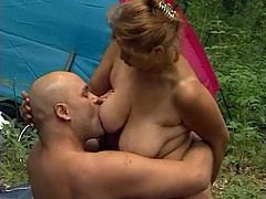 Redhead Granny Mathilda Takes His Cock Camping
