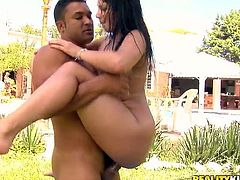 Torrid Brazilian hooker Loupan Britney gets ass fucked outdoor
