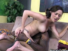 Watch this hardcore scene where the naughty teen brunette Mae Meyers takes off her cheerleading outfit and rides a big black cock.