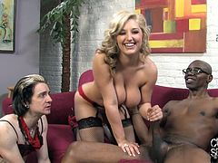 Beautiful wife rides big black cock in front of her hubby