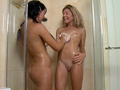 Insolent gals are having a naughty time by masturbating one another under the shower
