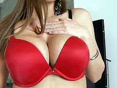 Brooklyn Chase likes to pose in her red lingerie before exposing her outstanding natural tits