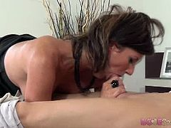Horny MILF in stockings Olivia is ready to have some fun on a business trip. After she gave his cock a nice blow she took it ballsdeep in her pussy for a creampie.