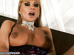 Blonde with juicy breasts stripping for your viewing entertainment in solo action