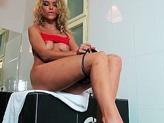 Slutty blond bitch with big boobs goes to bathroom and starts touching her body. She is ready to be fucked, she starts cunt fingering deeply and in passion. Watch this blond bitch fucking herself in Mofos Network sex clip!