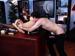 What are you waiting for? Watch this blonde babe, with huge tits wearing a maid uniform and stockings, while her boss drilled her bad over his office.
