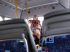 Kinky blonde babe gives a blowjob right in a bus. Then the guy licks her pussy and fucks in different poses.