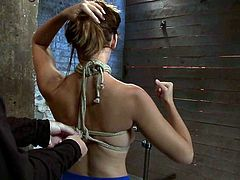 Busty and slender hick gets gagged and tied up