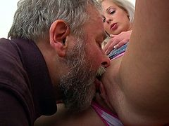 Sweetie accepts the company of her boyfriend's dad during one nasty threesome