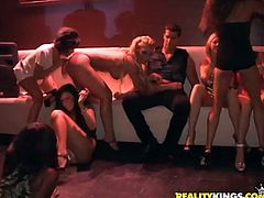 That's a hell of an orgy going on in here! Stunning chicks go clubbing on Friday night and their night ends up with a wild group sex.
