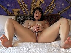 Watch this sexy brunette tattooed chubby babe Sarah in this hot solo video.See how she strips off her bra and panty and shoves a huge steel wand in her tight pussy for masturbating.