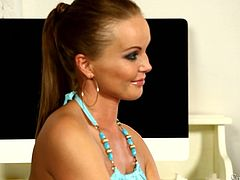 Silvia Saint is having fun with short-haired mature brunette Gabriele Gucci. Gabrielle shows her big fake tits to Silvia and then fingers her snatch ardently.