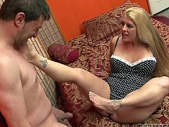 Busty blonde Joclyn Stone is having fun with some man in a bedroom. The dude asks Joclyn to give him a blowjob and she fulfils his request.