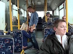 Hot blonde blows and fucks a large cock while in public