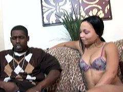 Slim girl with perky tits blows a cock lying on a sofa. Later on she spreads her legs and gets pounded in a cowgirl position.